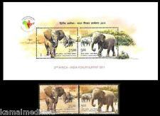 India 2011 MNH SS + 2V,  Wild Animals, India & Africa Elephants (P8)