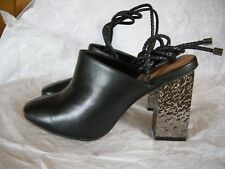 NEW NEXT BLACK MULES SHOES ANKLE STRAP MULE LEATHER  SHOES NEXT SIZE 5 BNWT