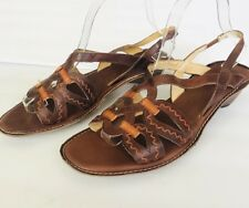 PIKOLINOS SPAIN ANTHROPOLOGIE BROWN LEATHER OPEN TOE SLINGBACK SANDALS  41/10