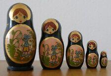 Babuschka. Matrjoschka. Schöne Matroschka mit Wald-Maus!Handgemalt,signiert!1994