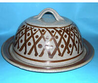 Trevor Nicklin Studio Pottery - Large Raku Type Glaze Cheese Dome.(Makers Mark)
