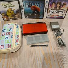 Nintendo DS Lite Crimson Red Black with Charger, Case, 3 Games, Game Holder