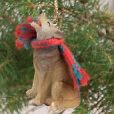 Timber Wolf Ornament resin Hand Painted Figurine Christmas Collectible Animal