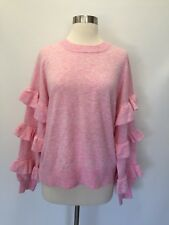New J CREW Sweater with Ruffle Sleeves Top Size XL Hthr Neon Bouquet Pink H0113