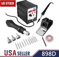 2 in 1 SMD Rework Soldering Station hot Air Gun Solder Iron DC Power Supply 898D
