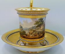 RARE ANTIQUE DENUELLE (old paris) CUP AND SAUCER  CIRCA 1810-1829