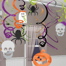 30 Assorted Halloween Spider Pumpkins Ghosts Party Hanging Swirls Decorations