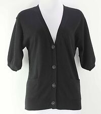 Talbots Sz S Black Viscose Nylon Cotton Lambswool Angora Cashmere Cardigan F055