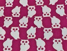 "Vintage Owl Fabric Retro Mod Twill Quilting sewing crafting 35"" wide by 1/2 Yard"