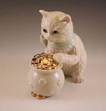 Lenox Cat with Green Neck Ribbon with Pot of Gold