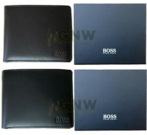 HUGO BOSS MEN SOFT LEATHER BILLFOLD 5 CARDS/COIN WALLET 'ASCOLO-X' WITH GIFT BOX