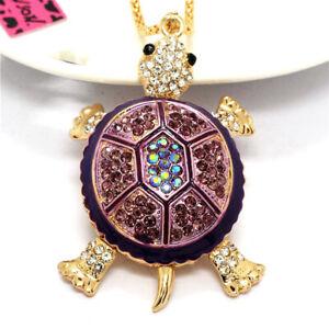 Rhinestone Purple Enamel Lovely Turtle Crystal Pendant Betsey Johnson Necklace
