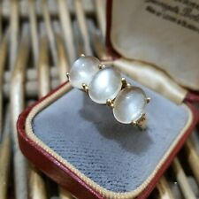 Natural Grey Moonstones Sterling Silver Ring, Gold Over, Size R 1/2 US Size 9