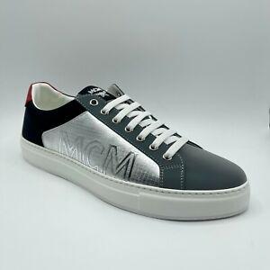 $450 MCM Men's Black/Gray Leather Sneaker w/Metallic Sides 44/US 11 MEX9SMM19SV