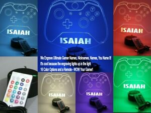 Video Game Controller Night Light Lamp LED Personalized Gamer Name Gaming Room