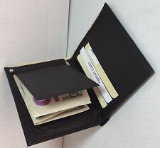 BRAND NEW MEN BLACK FLIP FOLD WALLET COWHIDE LEATHER WITH MONEY CLIP