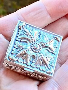 Lovely Antique Silver Pill / Trinket Box - European Makers