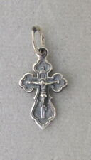 Orthodox Cross Pendant, Crucifix Oxidized Sterling Silver,3 bar,IS XS, Small #2