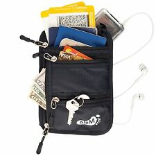 Travel Wallet & RFID Blocking Neck Pouch - Safety Money, Passport and Documents