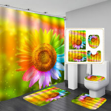 4PCS Sunflower Bathroom Set Waterproof Shower Curtains Floor Mat Toilet Rug