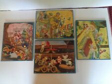 4 Vintage Jigsaw Puzzles -Happy Miners- Elves & mice by Bill Layne  812b