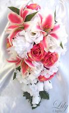 17pcs Wedding Cascade Bridal Bouquet Silk Flower Teardrop FUCHSIA WHITE