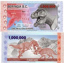BERINGIA B.C. Billet 1000000 1 Million DINARS 2012 Dinosaurs POLYMER UNC NEUF