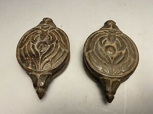 Pair Antique Floral Carved Wood Cambodian Khmer Silk Loom Pulley Heddles (5)