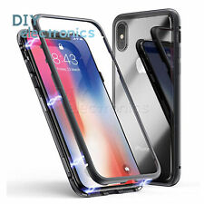 For iPhone X 6 7 8 Plus Magnetic Adsorption Coherer Flip Tempered Cage Cover US