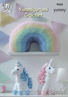 Yummy Chunky Amigurumi Crochet Pattern Rainbow Cushion & Unicorn King Cole 9068