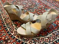 SIMPLY NOELLE ICON 9 WEDGE TAUPE BEIGE STRAPPY STRETCH CRISS CROSS FAUX CORK NEW