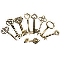 9PCS BIG Large Antique Vtg old Brass Skeleton Keys Lot Cabinet Barrel Lok    ☍