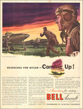 1942 WW II AD BELL Aircraft  Art Going into action Scramble by Ben Stahl  022818
