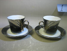 Pair 24ct gold collection fine porcelain cup and saucers