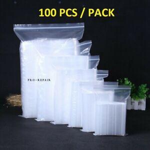 100x 2-Mil Clear Reclosable Zip Plastic Lock Bags Poly Jewelry Zipper Baggies US