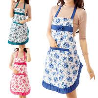 CW_ Women Polyester Apron Restaurant Kitchen Cooking Anti-Dirty Bib Floral Patte