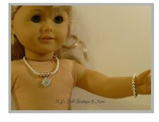 White Flower Rhinestone Necklace & Bracelet Set fits American Girl Doll