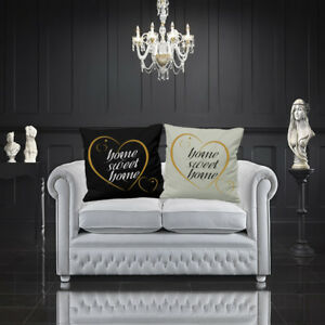 """HOME SWEET HOME CUSHION COVER GOLD HEART LOVE YOUR HOME DECOR 16"""" OR 18"""" SQUARE"""