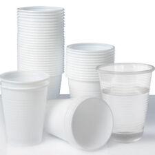 100 X Small Plastic Disposable Cups White 7oz Party Cafe Catering Hot Cold Drink