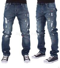 Peviani Mens Boys Multi Paint Patch Ripped Star Jeans Hip G Hop Club Rip Edmsn
