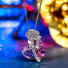 Silver Necklace Swarovski Element Crystal Love Heart Pendant Gift BoxE4