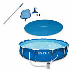 Bundle 12-Foot Pool Cover Tarp, Cleaning Pool Kit, & Above Ground Swimming Pool
