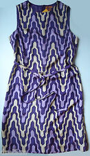 NWT Tory Burch Graphic Print Silk Shift Dress in Purple Size 10