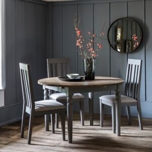 Frank Hudson Gallery Direct Cookham Round Oak Extending Dining Table Grey
