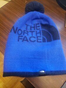 The North Face Ski Tuke Beanie Pom Youth Blue on Black One Size New