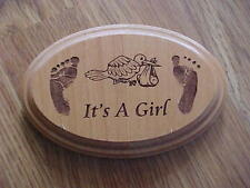 Brand New Its A Girl Wall Plaque  Baby Girl Sign Stork Footprints **