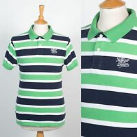 MENS TOMMY HILFIGER POLO SHIRT T-SHIRT GREEN & BLUE STRIPED CASUAL PREPPY S