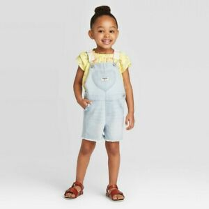 OshKosh B'gosh Toddler Girls' Light Blue Heart Pocket Shortall Size 18 Months