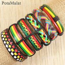 PotaMalat 6pcs Women Men Multi-Color Leather Bangle Wristband Cuff Bracelet-D24