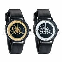 Men's Women's Classic Leather Band Gear Dial Analog Quartz Round Wrist Watch